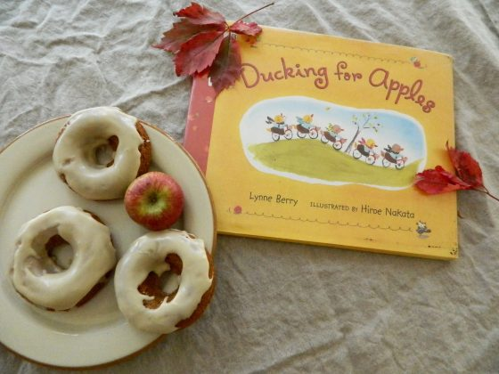 Ducking for apples and apple cider donut recipe - finestofsuppers.com