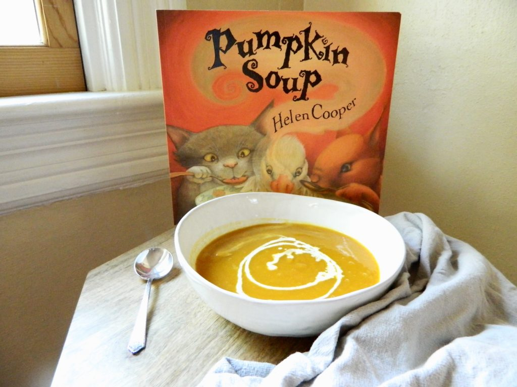 Pumpkin Soup book with a bowl of Roasted Pumpkin Soup - finestofsuppers.com