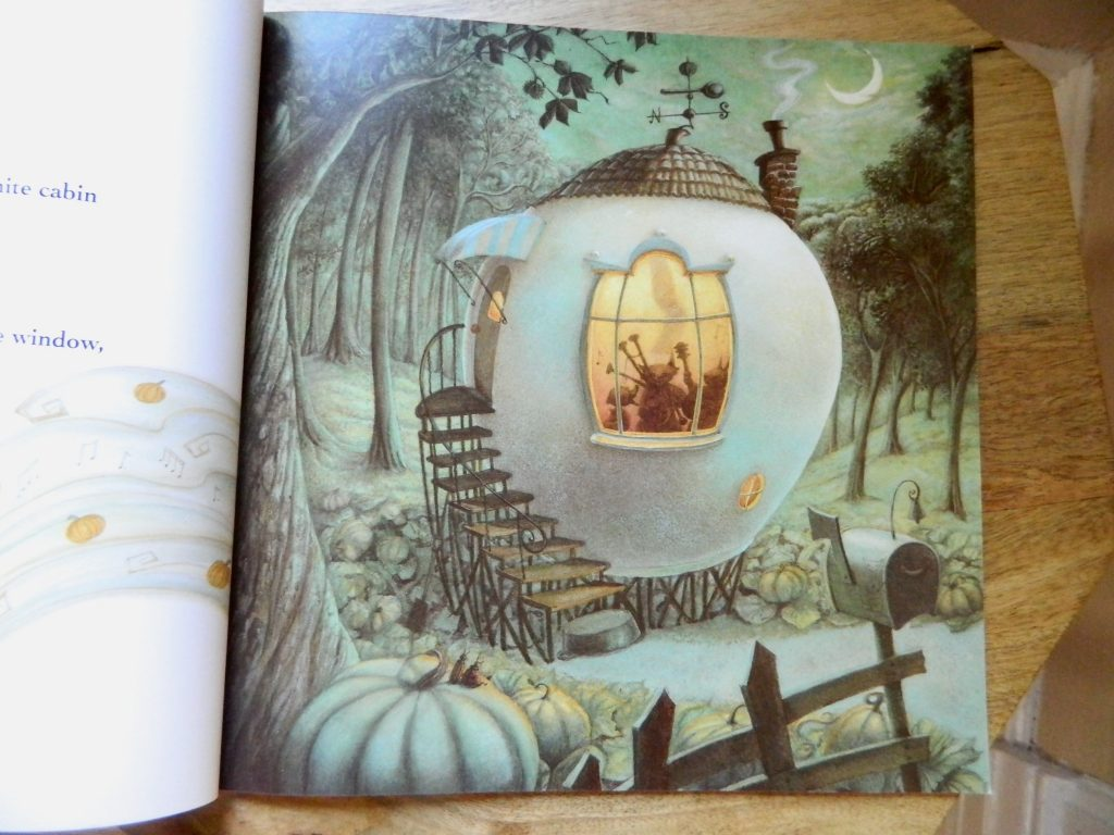 "illustration of a pumpkin house from ""Pumpkin Soup"" by Helen Cooper - finestofsuppers.com"