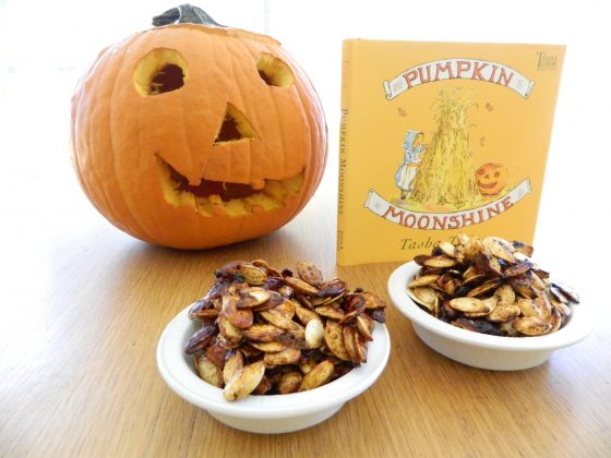 "two flavors of roasted pumpkin seeds and book ""Pumpkin Moonshine"" by Tasha Tudor - finestofsuppers.com"