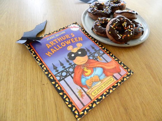 "Baked Double Chocolate Donuts and ""Arthur's Halloween"" by Marc Brown - finestofsuppers.com"