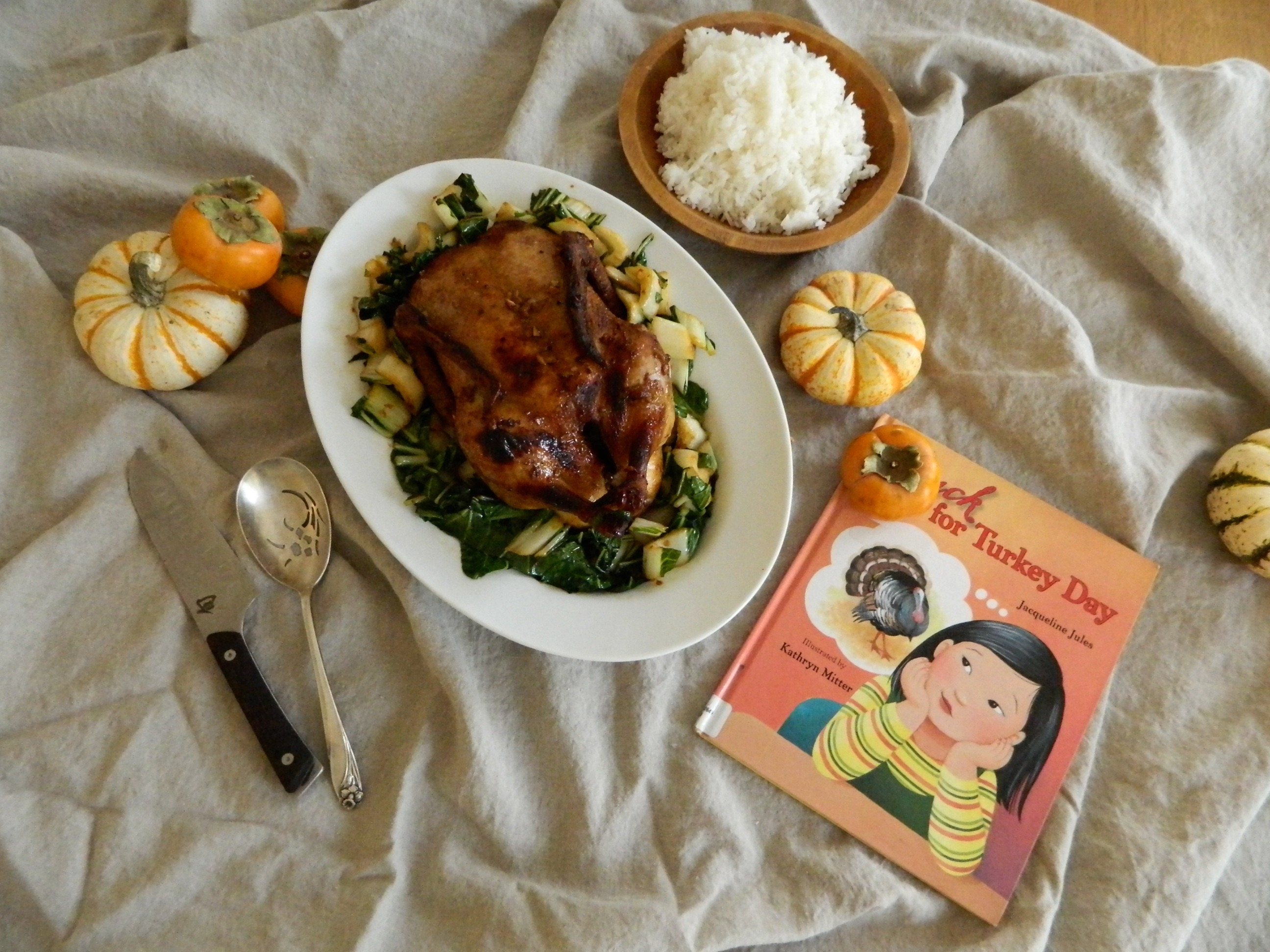 "Five Spice Roast Duck and the book ""Duck for Turkey Day"""