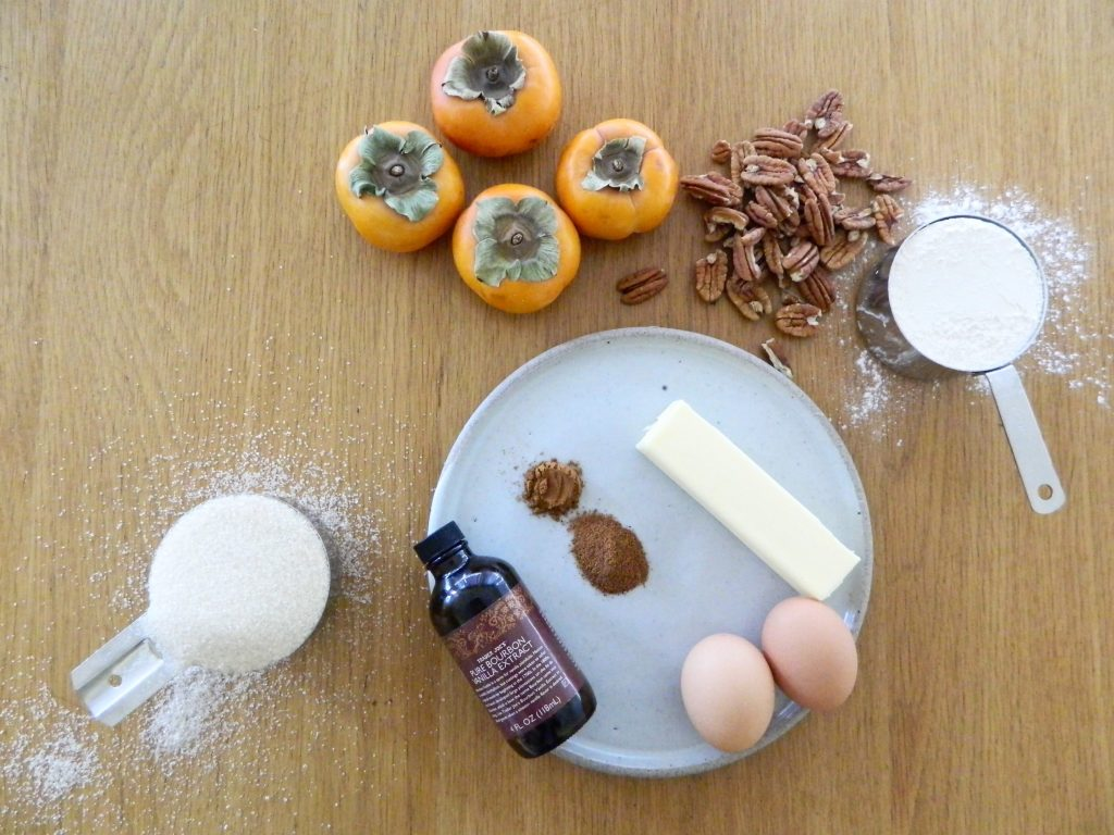 Ingredients for Persimmon Pecan Bread - finestofsuppers.com