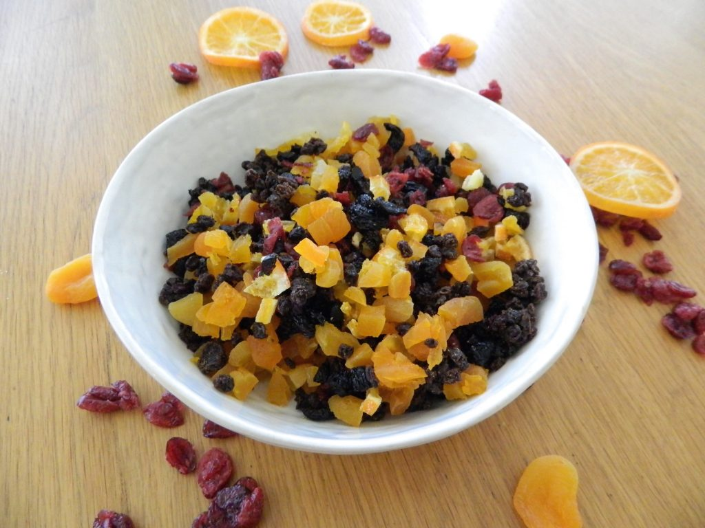 Chopped fruit to use in Wintercake Fruitcake - finestofsuppers.com