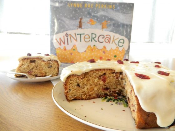 "Fruit studded coffee cake and ""Wintercake"" book"