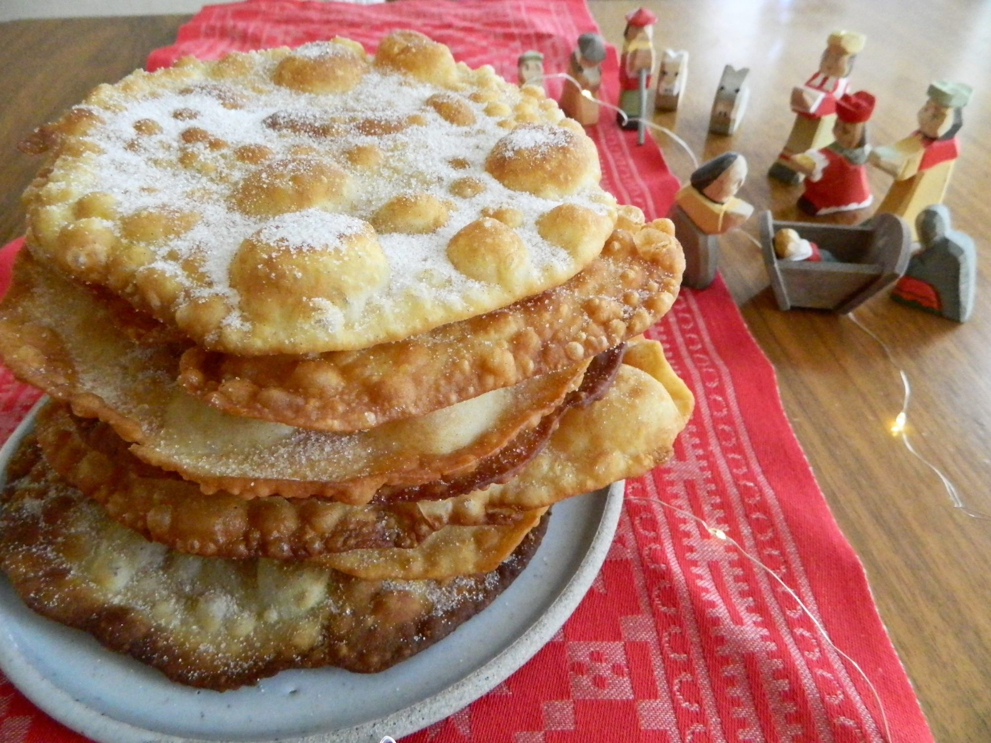 Bunuelos sweet fried tortillas with cinnamon sugar topping