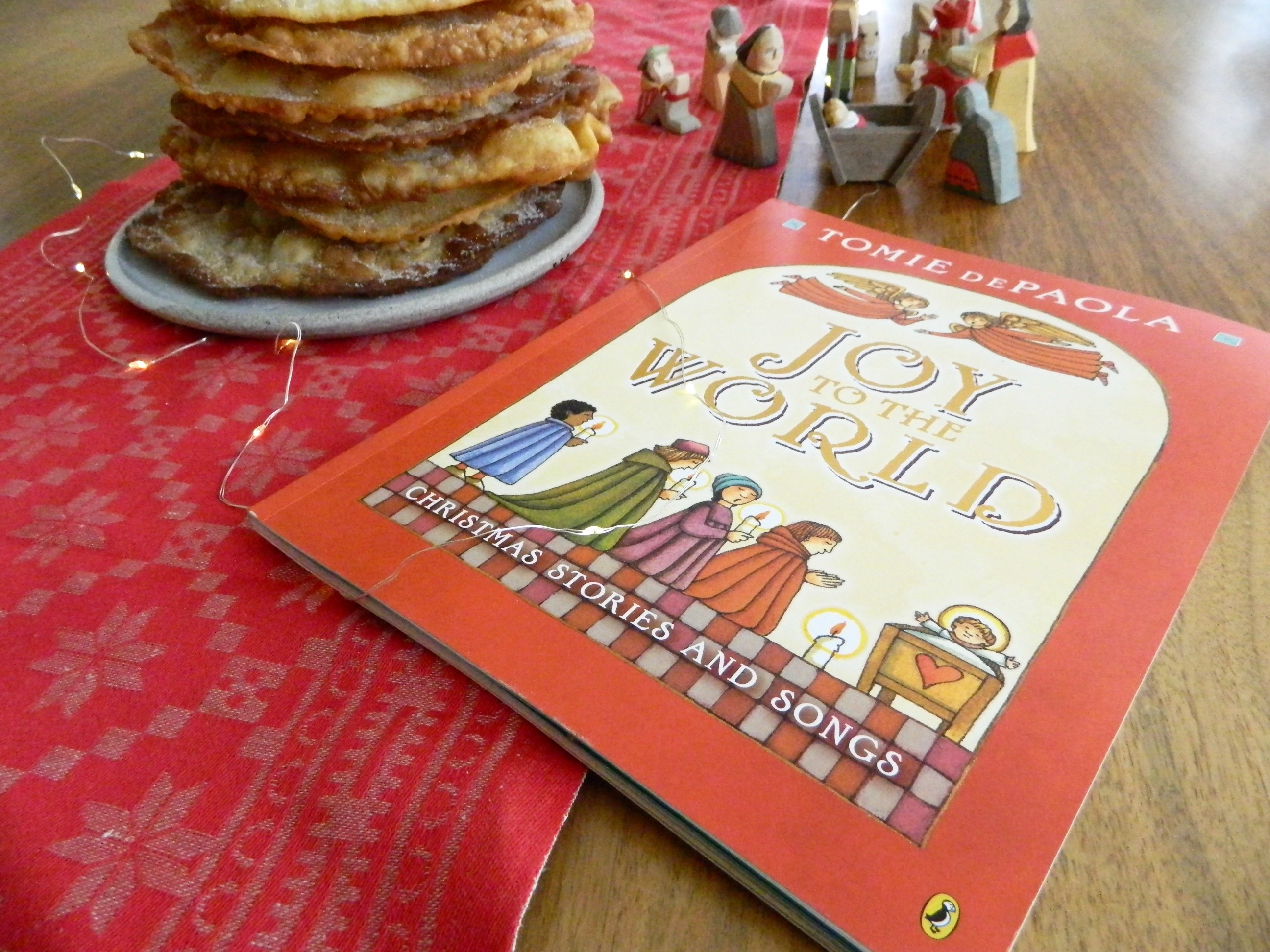 "Bunuelos recipe and review of ""Joy to the World"" by Tomie DePaola"