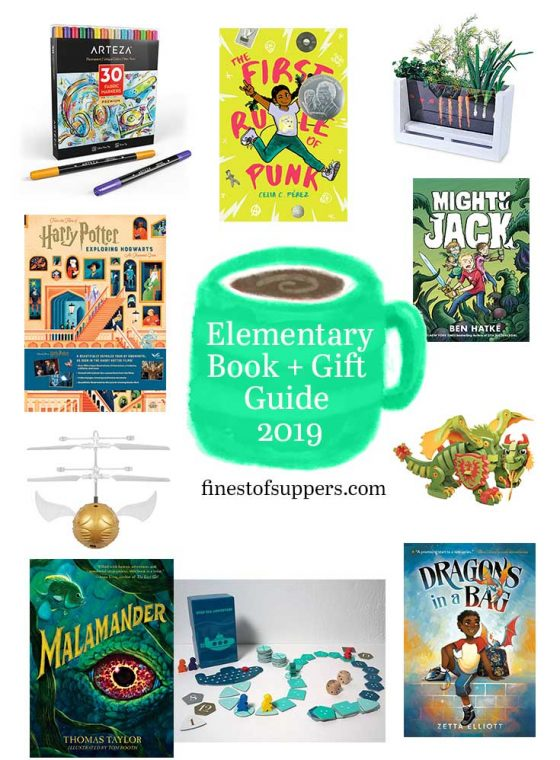 a gift guide pairing books with gifts for elementary kids - finestofsuppers.com