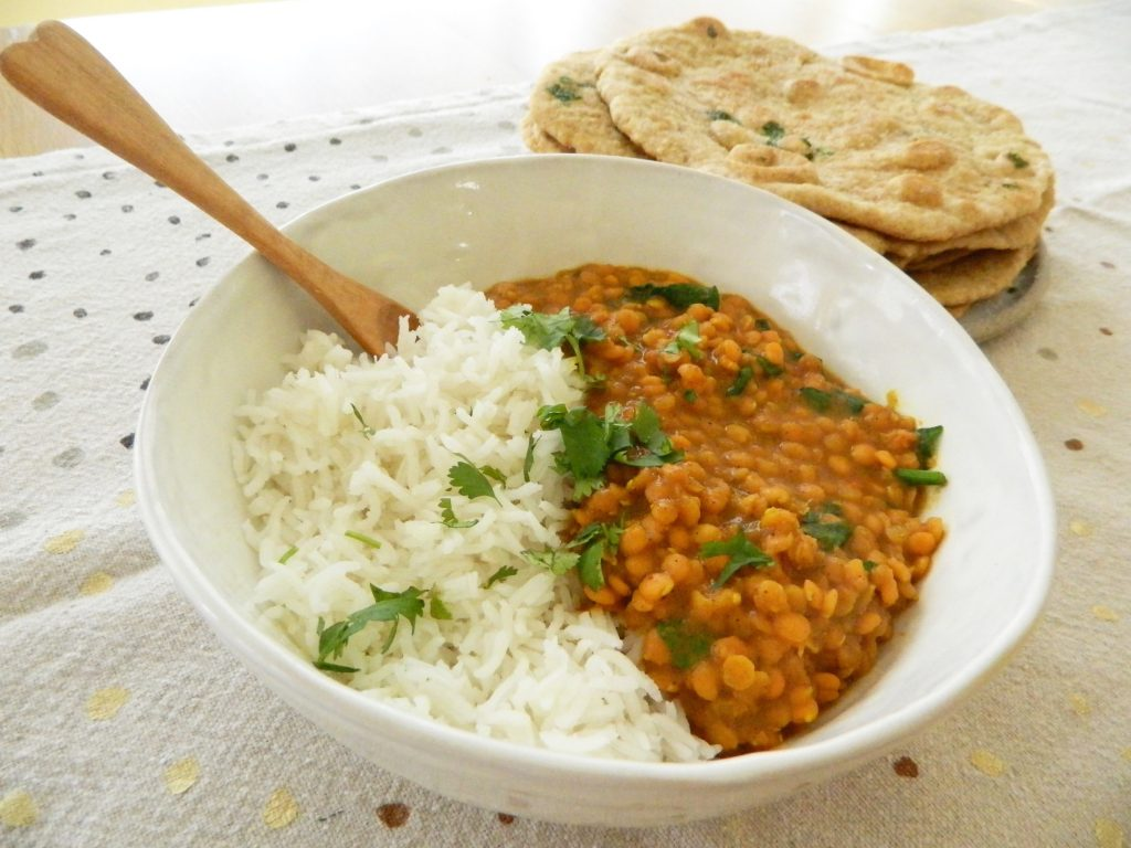 Coconut Dahl with Spinach and Quick Garlic Naan - finestofsuppers.com
