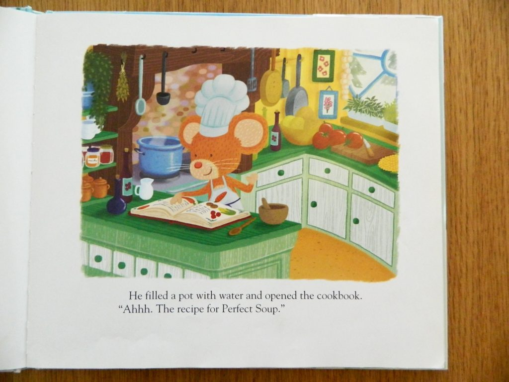 """Murray the mouse finding a recipe for perfect soup in the book """"Perfect Soup"""" - finestofsuppers.com"""