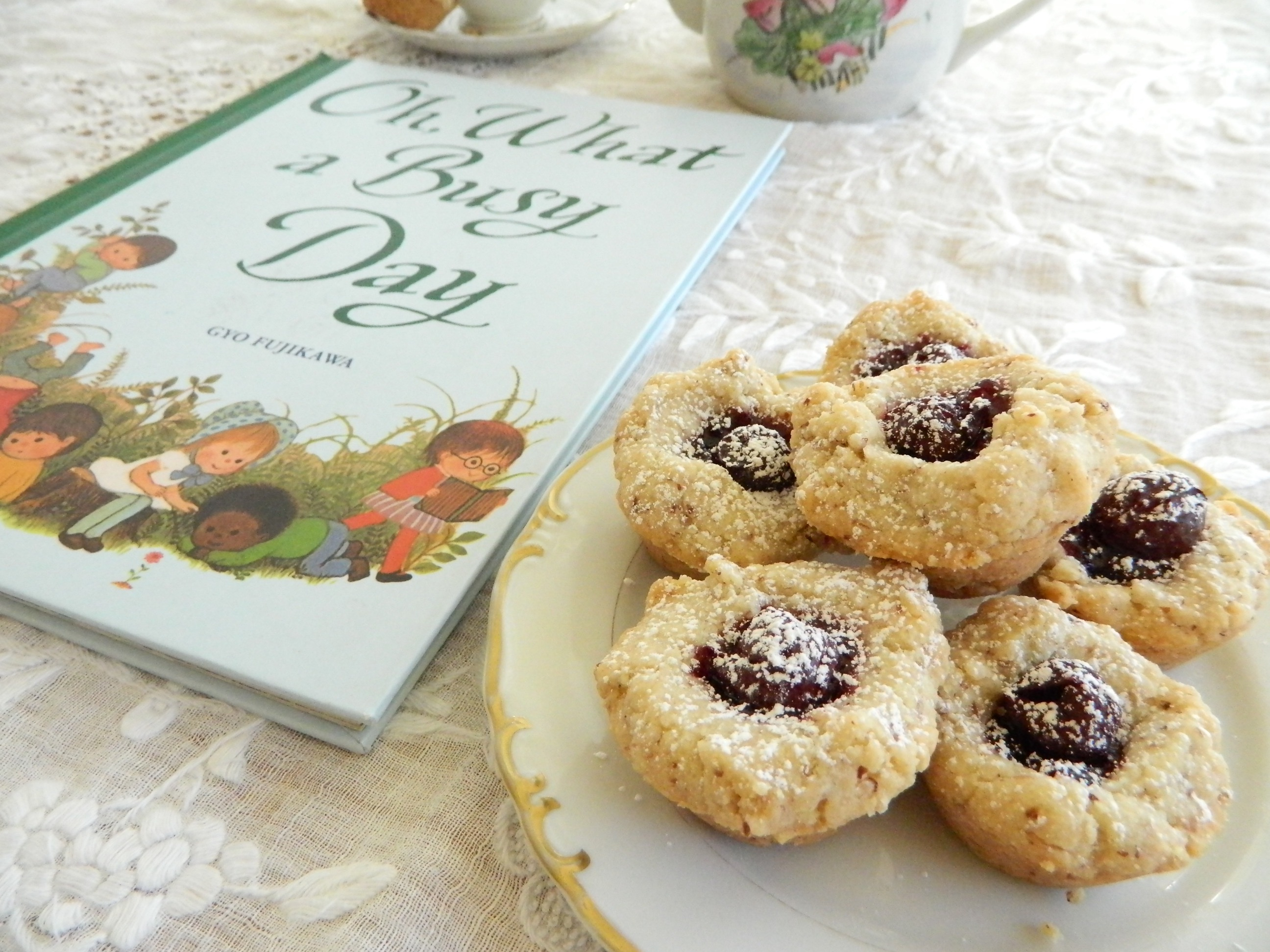 """""""Oh, What a Busy Day"""" book with Cherry Almond Tea Cake Recipe -finestofsuppers.com"""