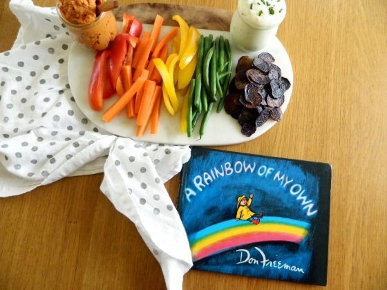 """A Rainbow of my Own"" by Don Freeman and recipe for vegetable platter with 2 dips - finestofsuppers.com"