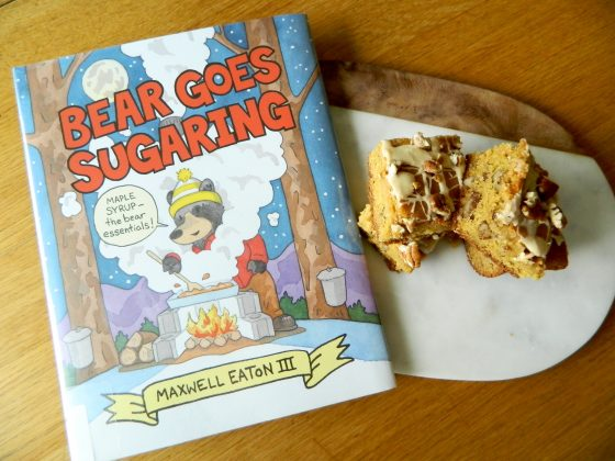 Bear Goes Sugaring and recipe for Maple Pecan Snack Cake - finestofsuppers.com