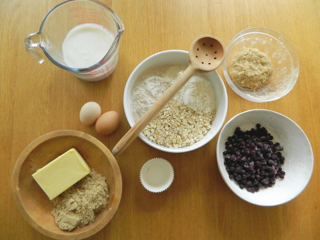 Ingredients for Blueberry Crumb Muffins - finestofsuppers.com