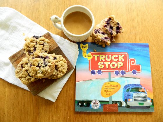 """Blueberry Crumb Muffins inspired by """"Truck Stop"""" by Anne Rockwell -finestofsuppers.com"""