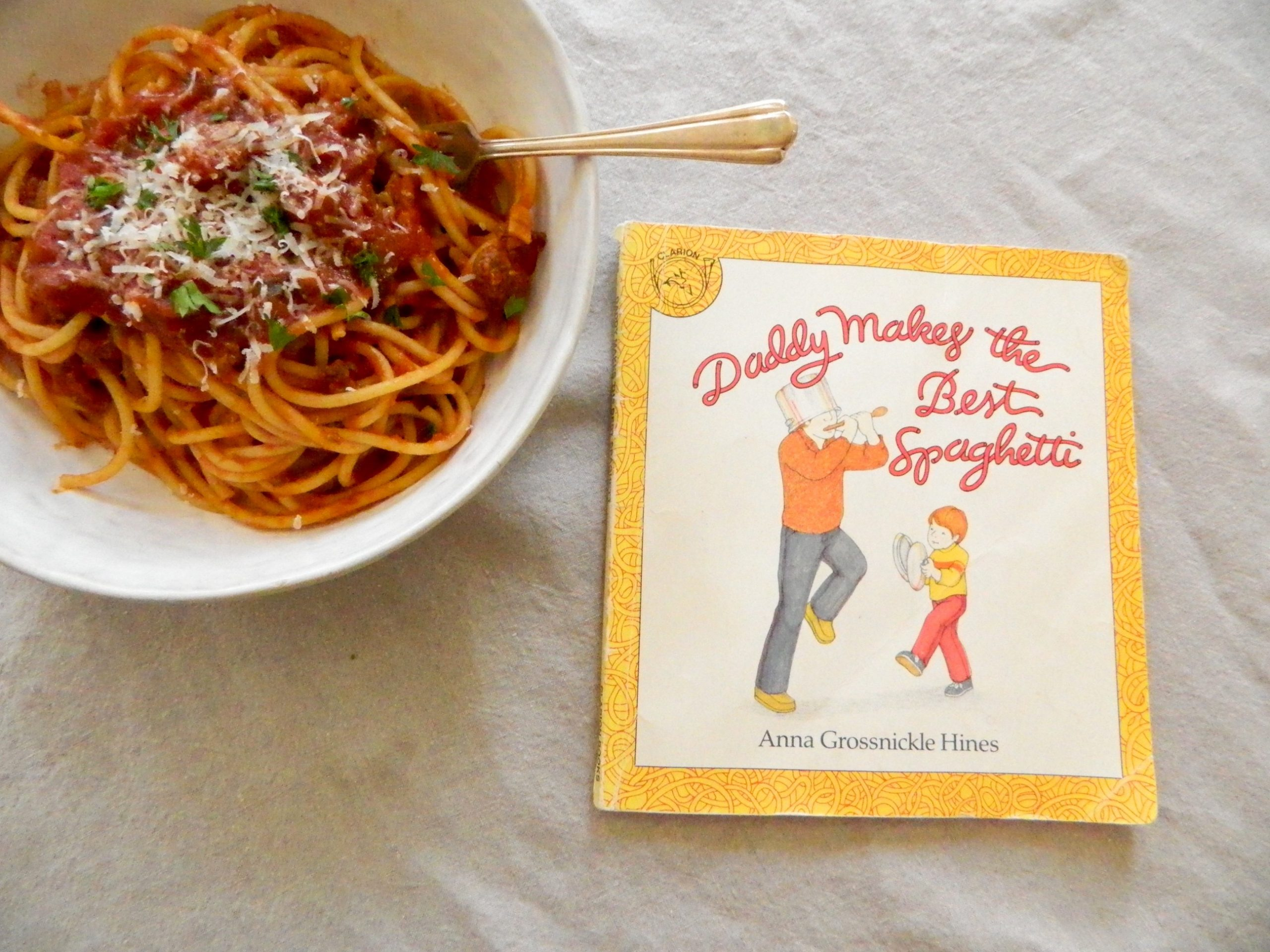 """""""Daddy Makes the Best Spaghetti"""" by Anna Grossnickle Hines - finestofsuppers.com"""