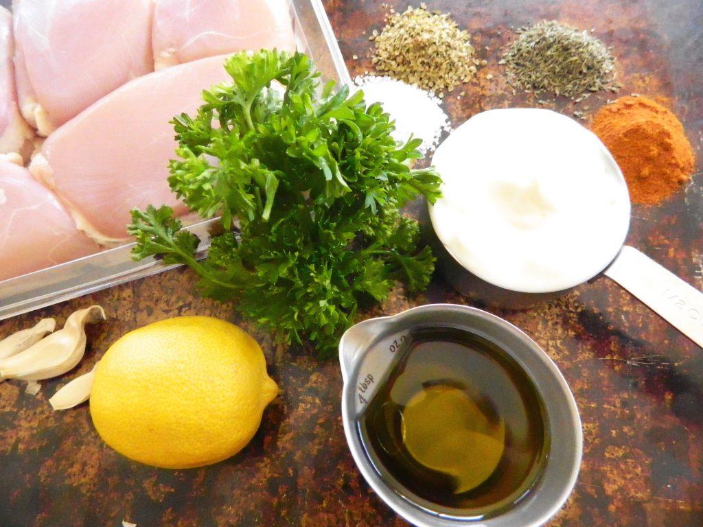 Ingredients for Yogurt Lemon Baked Chicken - finestofsuppers.com