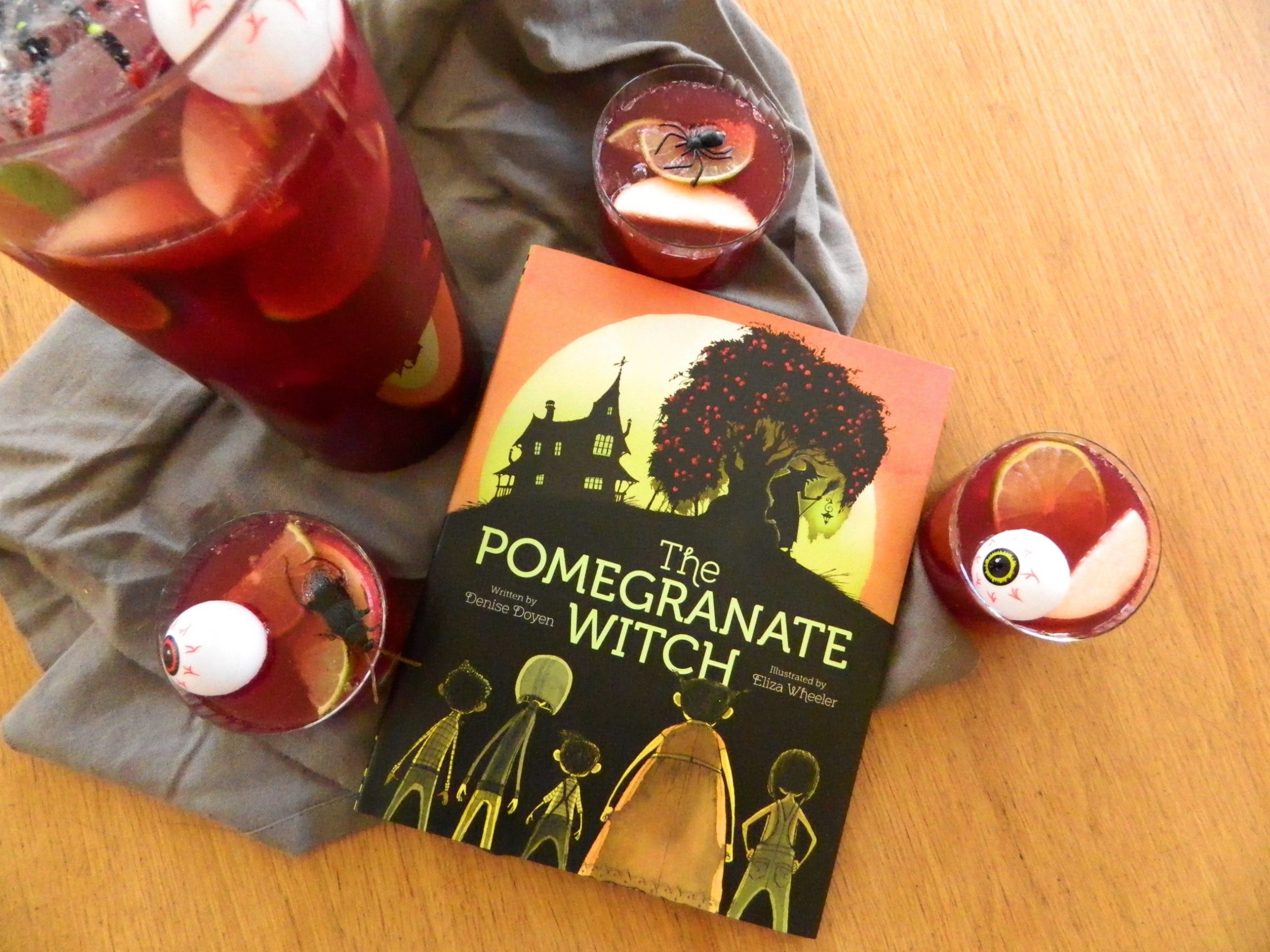 The Pomegranate Witch and recipe for Spooky Pomegranate Punch - finestofsuppers.com